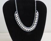 "1950s Vintage Rhinestone Necklace - Light Blue Foiled Crystal & Milk Glass Rhinestones - Midcentury Costume Jewelry 16"" Wedding Bridal"