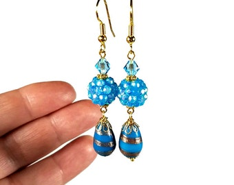 Aqua Blue Dangle Earrings, Aqua Earrings, Sparkly Bead Dangle Earrings, Gift for Her