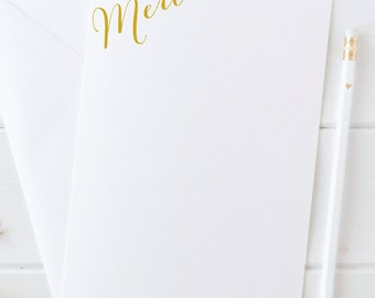 Thank You Cards, Merci Notecards, Thank You Note Cards, Gift for Her Stationery, Thank You Flat Cards