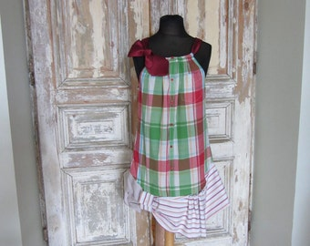 Green and Red Plaid Tank Dress, Refashion Recycle Clothing, Country Girl Dress, Funky Dresses, Boyfriend Shirt Dress, Eco Friendly Clothing