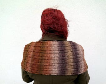 Large Brown Scarf, Hand Knitted Mens Scarf, Ombre Brown Women's  Stole, Long Striped Scarf, One of a Kind Gift for Men, College Student Gift