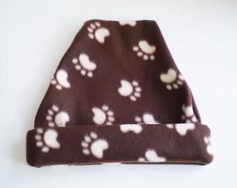 Fleece Paw Print Hat, Fleece Paw Print Cap, Brown Fleece Hat, Brown Fllece Cap, Brown Paw Print Hat, Brown Paw Print Cap