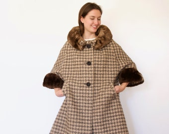 50s Wool Houndstooth Swing Faux Fur Cuffs and Collar Cocoon Coat s m l