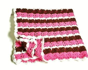 Pink Striped Blanket Brown White Crochet Afghan Baby Girl Toddler Handmade Knitted Gift, Crochet Blanket