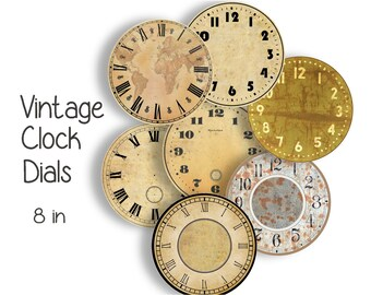 VINTAGE CLOCK FACES - 8 inch Craft Circles - Instant Download Digital Printable Clock Watch Dials Steampunk Industrial Antique Clocks