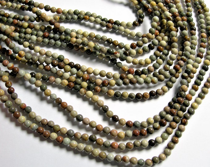 Polychrome jasper - 4mm (4.4mm) round beads - full strand - 90 beads - A quality - Grey polychrome - RFG1279
