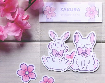 Sakura Bunny & Cat Stickers - 7 pack - Cherry Blossom, Pastel, Pink, Cute, Kawaii, Kitten, Rabbit, Flower, Bow