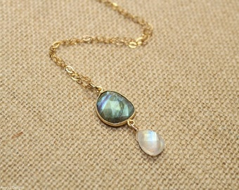 Labradorite & Moonstone Necklace, Bezel Stone, Blue Flash, Labradorite Jewelry, Gemstone Jewelry