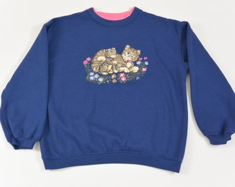 Vintage Cat Sweatshirt, Navy Blue, Size XS-Small, Kawaii, Cat Lover, Flower Sweatshirt, Hipster, Quirky, 90's Clothing, Animal Sweatshirt