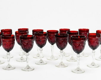 Ruby Red Stemware 2 Red Wine Glasses Tall Glass Goblets Cristal D'Arques Durand