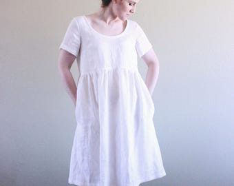 Charlotte White Linen Dress with Pockets / Made to Order