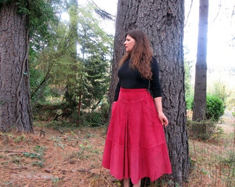 1960s long suede skirt Red riding skirtM