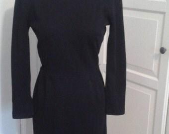 "50s Helen Whiting Dress, Knit, Long Sleeves, Zippered 3/4 Sleeves, Waist Seam, Size Small (24-26"" Waist)"