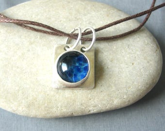 """Blue Water Glass Pendant - Sterling Silver- Lampwork - Handcrafted Jewelry - Waxed Cotton Cord 16"""""""