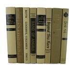 Cream Tan and Black Books Vintage Book Decor , Decorative Books ,  Photo Prop , Bookshelf Decor , Home Decor , Old Book Decor ,