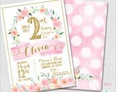 1st Birthday Party Invitation | Girl First Birthday Invitation | ONE Invitation | Pink and Gold Girl | Teen Invitation | Amanda's Parties
