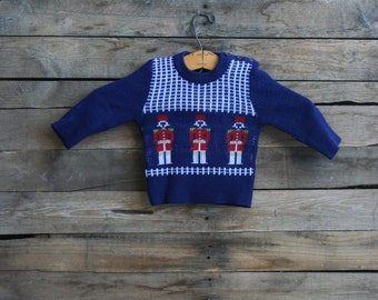 SUPER SALE - Vintage Blue Knit Tin Soldier Sweater by Fricoteen