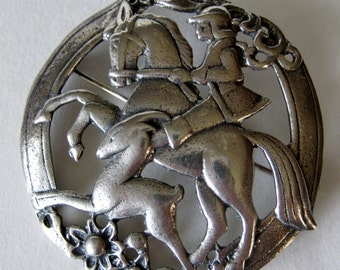 Vintage Sterling Brooch Horse and Rider w/ Deer Fawn
