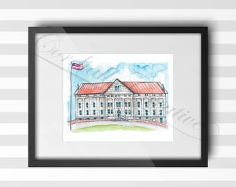 Polk Hall watercolor illustration print 8x10 inches,  digitally printed on white linen card stock, on Columbia Academy campus in TN