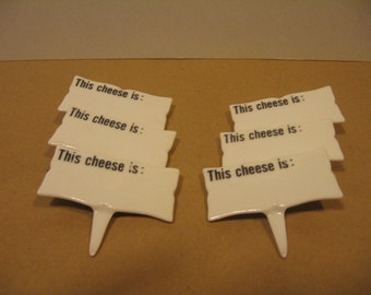 Cheese Markers Shafford Markers Cheese Ceramic Cheese Markers Six Porcelain Cheese Identification Markers Food Markers Party Food Markers