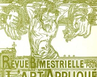 Jesus, Revue Bimestrielle Pour L'Art Applique by Johan Thorn Prikker, Art Nouveau 2-Sided 10x11 1984 Bookplate Print, FREE SHIPPING