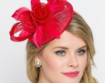"Red Fascinator - ""Emelia Rose"" Red Fascinator Hat Headband w/ Round Sinamay Base"