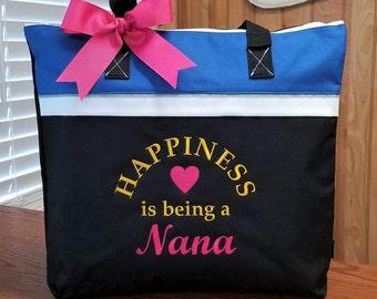 Tote Bag Nana Mom Grandma Grandmother Mothers Day Monogrammed Gift Personalized Name