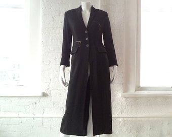 Black Duster 90s Vintage Barbara Bui Smoking Jacket Trench Coat Dress Small Medium Boho Minimalist French Designer Steampunk Coat Coatdress