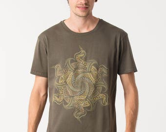 Mens T shirt Screen Printed Tribal Shirt Mandala Psy Fractal Art - Available in Small, Medium, Large, Extra large