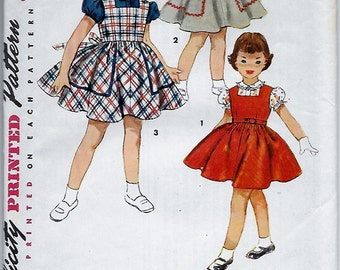 1950s Little Girl's Blouse, Peter Pan Collar, Puffed Sleeves, Jumper Square Neck & Full Skirt Simplicity 4407 Size 2 Vintage Sewing Pattern