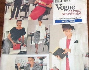 Easy Vintage 1980s Sewing Pattern Vogue Career 2023 Jacket, Dress, Top, Skirt, Pants Womens Misses Size 12 14 16 Bust 32 34 36 Factory Folds