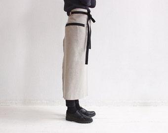 Apron, Linen apron, Long waist apron, Long linen apron, Kitchen apron, Black and grey aprons, Linen waist apron, Long half apron