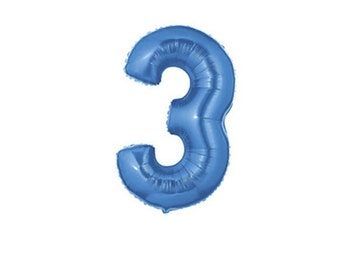 40 Inch Number Three Balloon   3rd Birthday Balloon   40 Inch Blue Foil Number Balloon