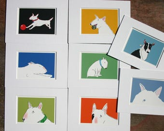 Bull Terrier Multi Buy Offer Small Sketches with White mount  A5 Choice of 8 Colourful Dogs