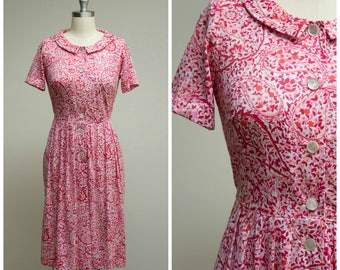 Vintage 1950s Dress • All Around • Pink Floral Printed Nylon Jersey 50s Day Dress by Shelton Stroller Size Medium