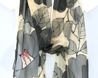 Spring Chiffon Scarf, Long Silk Scarf, Black Retro Japanese Camellia, Hand Painted Scarf Silk, Takuyo, 11x90 inch, Made to order
