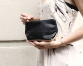 EMILY Leather Makeup Case. Small Leather Pouch. Small Black Leather Clutch. Small Black Leather Bag. Leather Cosmetic Bag.