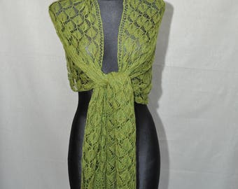 The forest veil, Greenery hand knitted lace shawl,woman's stole, green lace scarf