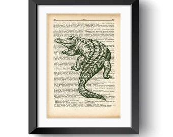Alligator dictionary print-Alligator print-Alligator on book page-Crocodile print-Vintage Dictionary art-wild animal print-NATURAPICTA-DP027