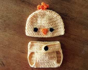 Crocheted Baby Chick Hat and Diaper Cover