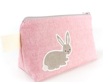 Little Makeup Bag with Grey Rabbit and Squirrel Animal Bag Small Cosmetic Purse Bunny Bag Gift for Her