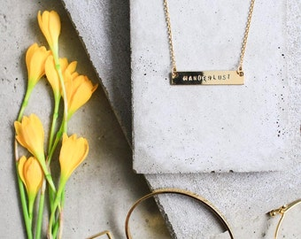 WANDERLUST bar necklace - PERSONALIZED Hand Stamped Message Horizontal Bar Pendant. Minimal everyday jewelry