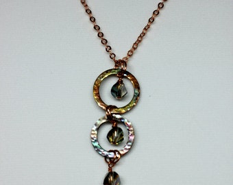 Washer Jewelry, Heat Patina Hand Stamped Copper Washer Pendant with Crystals - Handmade Jewelry