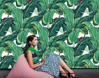 Banana Leaf Removable Wallpaper- Peel & Stick Self Adhesive Fabric Temporary Wallpaper-Repositionable-Reusable- FAST. EASY.