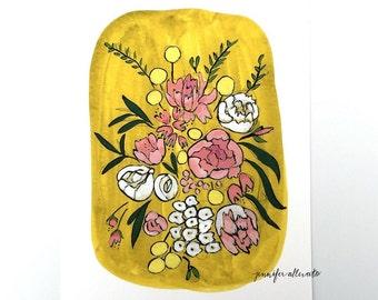 Floral bouquet illustration art print - Olive
