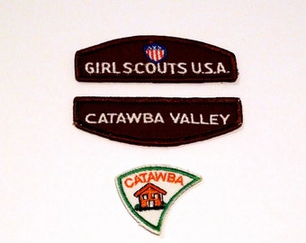 Catawba Valley Patch Set (3) Vintage Girls Scouts Embroidered patch Catawba Patch with Small House Brown Girl Scout Emblem 1980s  Scouting