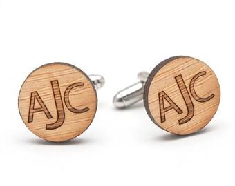 Monogrammed Cufflinks - Wood Cufflinks - Personalized Wedding Cufflinks - Groom and Groomsmen Cufflinks - Graduation Gift Ideas for Men