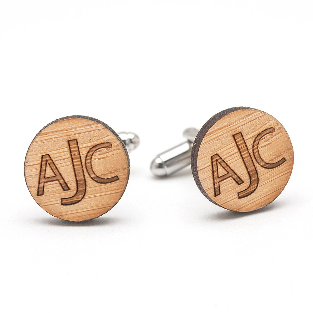 Monogrammed Cufflinks - Wood Cufflinks - Personalized Wedding ...