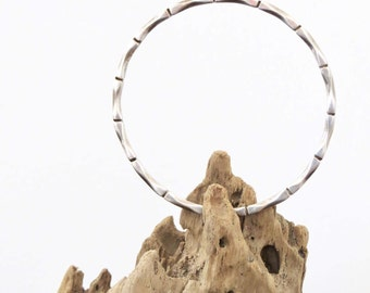 Vintage Bracelet Bamboo Design Sterling Silver Bangle