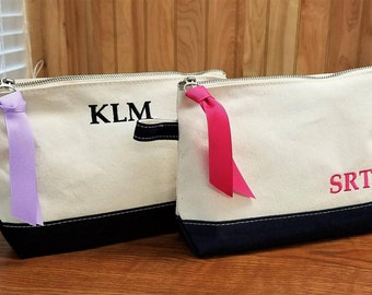 Set of 3 Canvas Cosmetic Bag Bridesmaid Gifts Personalized Make Up Bags